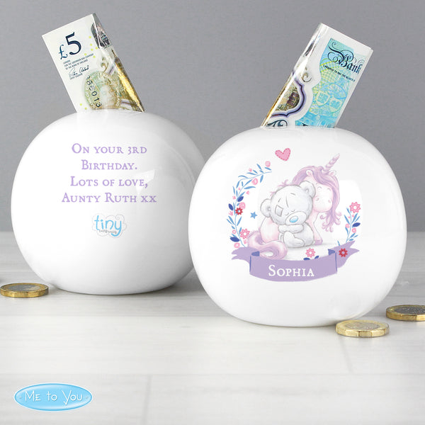 Personalised Tiny Tatty Teddy Unicorn Money Box from Sassy Bloom Gifts - alternative view