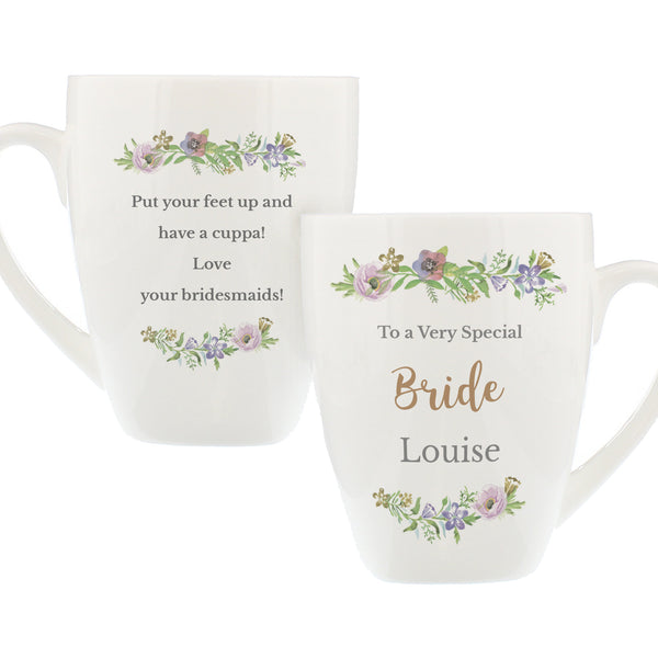 Personalised Floral  Watercolour Latte Mug white background