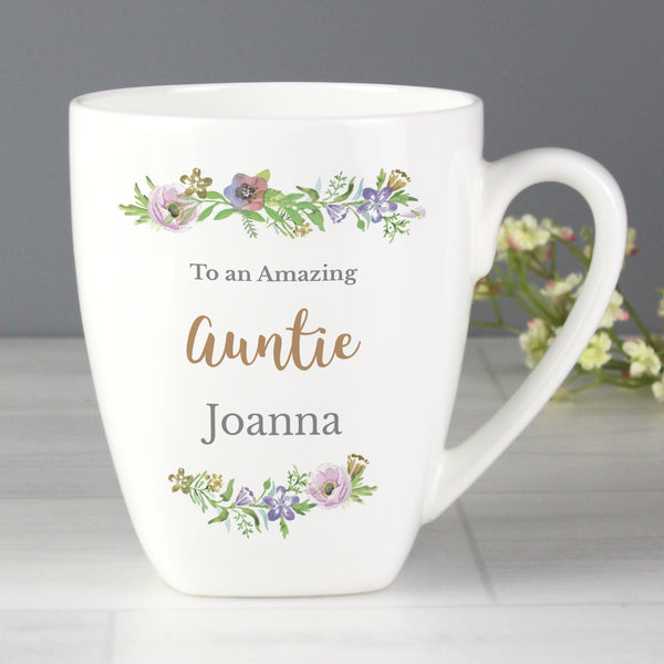 Personalised Floral  Watercolour Latte Mug lifestyle image