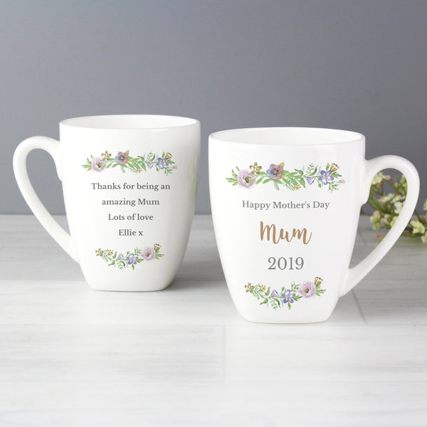 Personalised Floral  Watercolour Latte Mug with personalised name