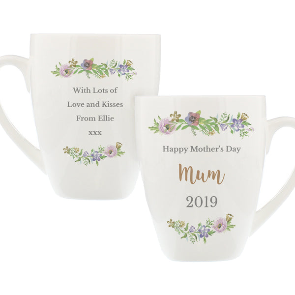 Personalised Floral  Watercolour Latte Mug