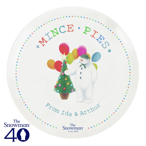Personalised The Snowman Festive Fun Mince Pie Plate white background