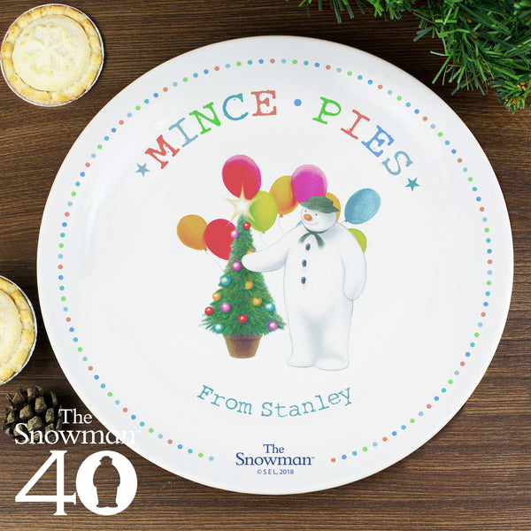 Personalised The Snowman Festive Fun Mince Pie Plate lifestyle image