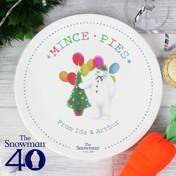 Personalised The Snowman Festive Fun Mince Pie Plate with personalised name