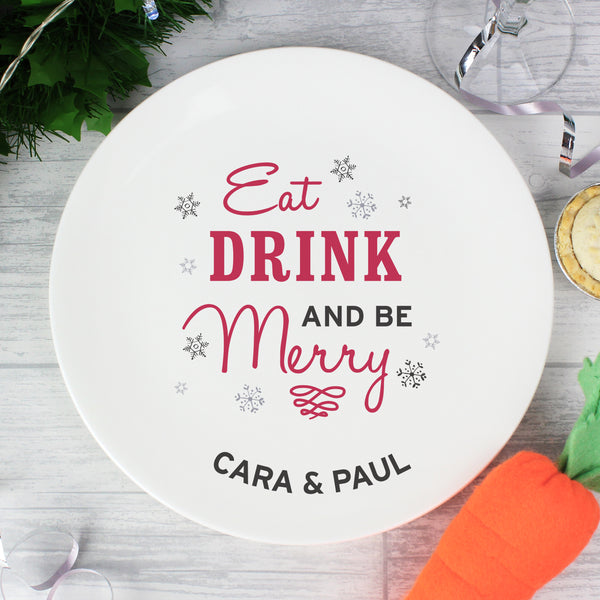 Personalised Eat Drink and Be Merry Christmas Plate from Sassy Bloom Gifts - alternative view