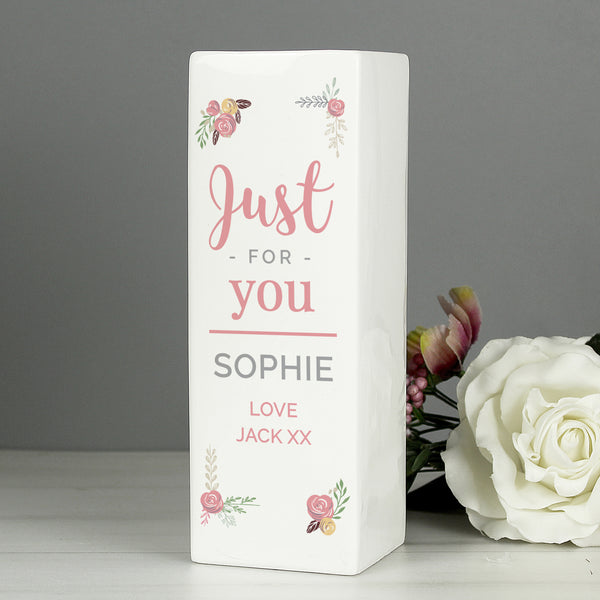 Personalised Floral Bouquet Square Vase from Sassy Bloom Gifts - alternative view
