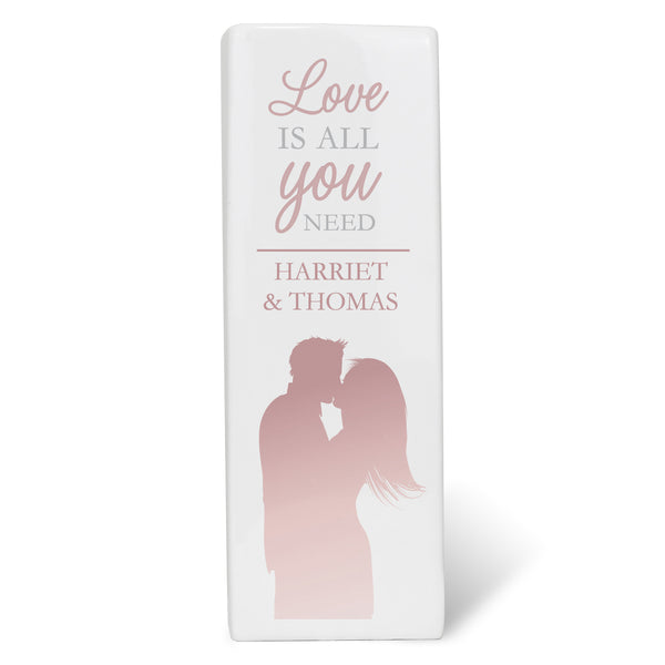 Personalised 'Love is All You Need' Square Vase white background