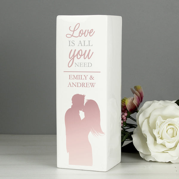 Personalised 'Love is All You Need' Square Vase from Sassy Bloom Gifts - alternative view