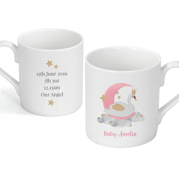 Personalised Swan Lake Balmoral Mug white background