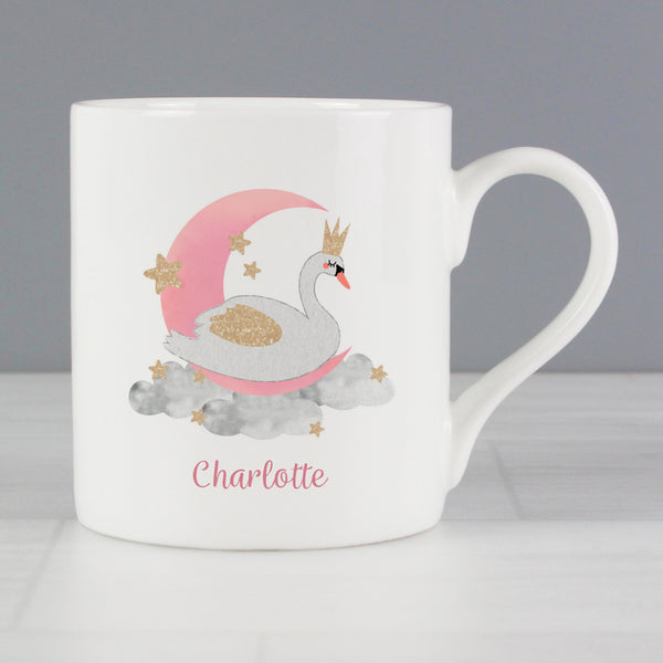 Personalised Swan Lake Balmoral Mug with personalised name