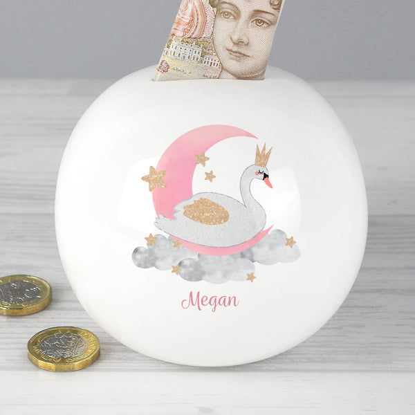 Personalised Swan Lake Money Box from Sassy Bloom Gifts - alternative view