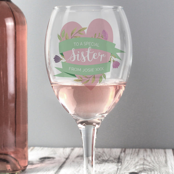 Personalised Floral Mother's Day Wine Glass