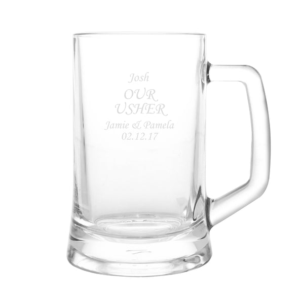 Personalised Stern Half Pint Tankard white background