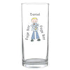 Personalised Cartoon Wedding Young Male Hi Ball Glass
