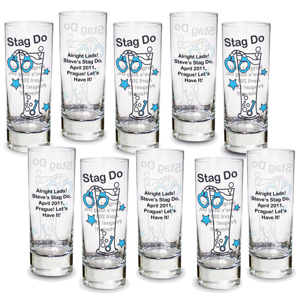 Personalised Stag Do Shot Glasses Pack of 10 white background