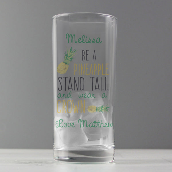 Personalised Pineapple Hi Ball Glass from Sassy Bloom Gifts - alternative view