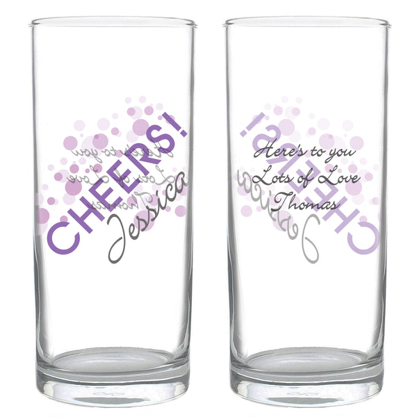 Personalised Cheers Hi Ball Glass white background