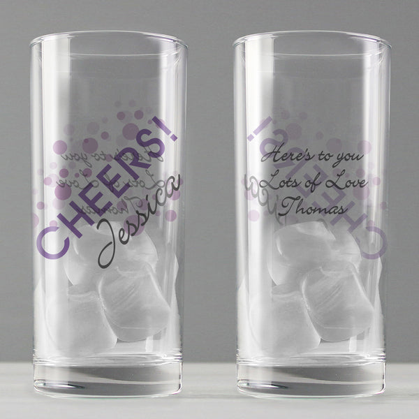 Personalised Cheers Hi Ball Glass from Sassy Bloom Gifts - alternative view