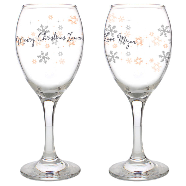 Personalised Snowflake Wine Glass white background