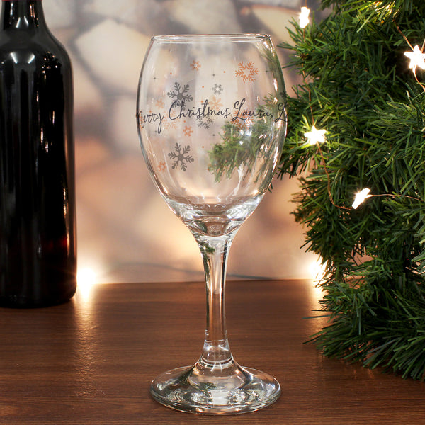 Personalised Snowflake Wine Glass from Sassy Bloom Gifts - alternative view
