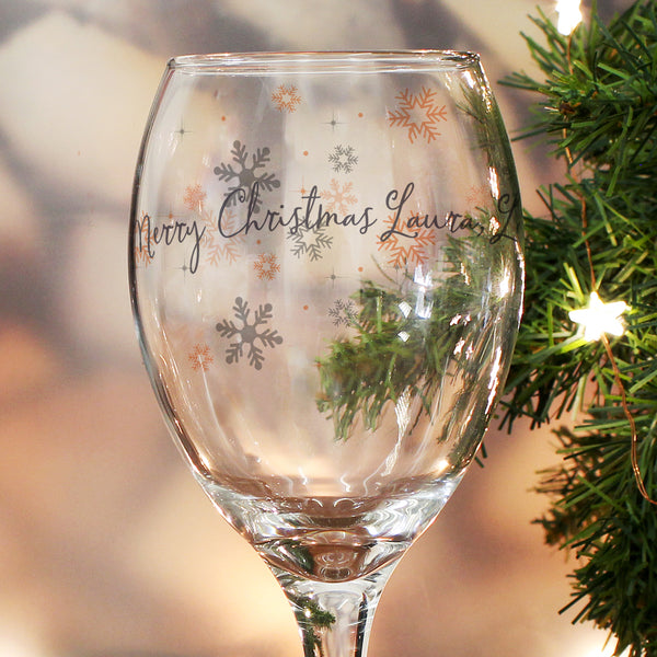 Personalised Snowflake Wine Glass lifestyle image