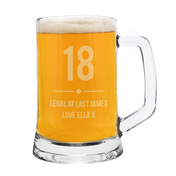 Personalised Big Age Glass Pint Stern Tankard white background
