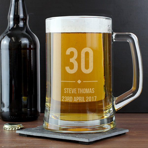Personalised Big Age Glass Pint Stern Tankard lifestyle image