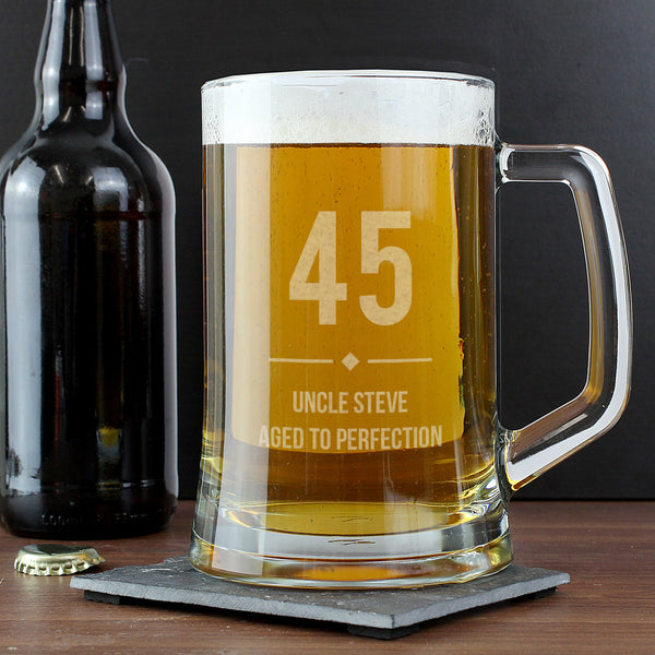 Personalised Big Age Glass Pint Stern Tankard with personalised name