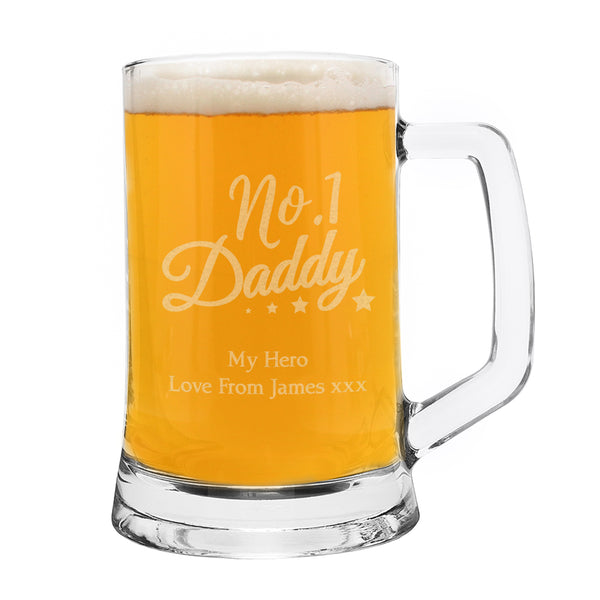 Personalised No.1 Daddy Glass Pint Stern Tankard white background