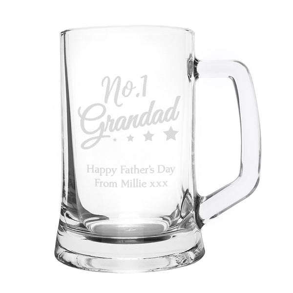 Personalised No.1 Grandad Glass Pint Stern Tankard lifestyle image