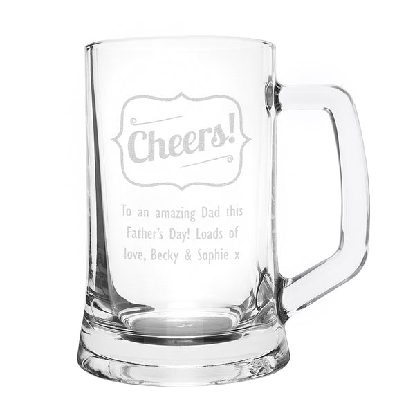 Personalised Cheers Glass Pint Stern Tankard white background