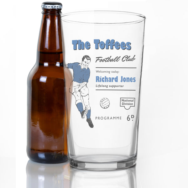 Personalised Vintage Football Blue Supporter's Pint Glass lifestyle image