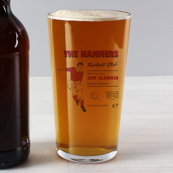 Personalised Vintage Football Claret Supporter's Pint Glass from Sassy Bloom Gifts - alternative view