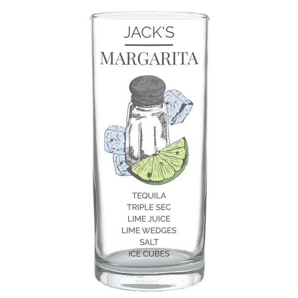 Personalised Margarita Hi Ball Cocktail Glass white background