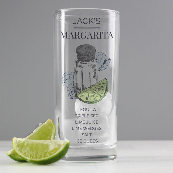Personalised Margarita Hi Ball Cocktail Glass with personalised name
