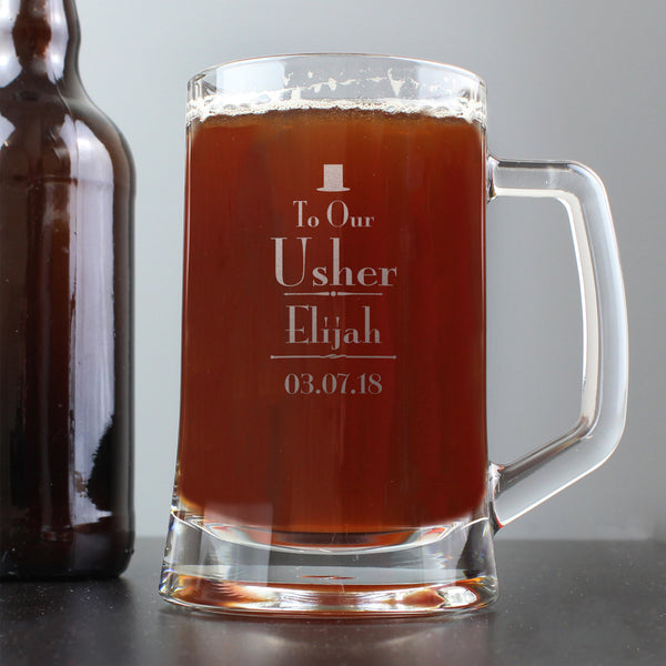Personalised Decorative Wedding Usher Stern Half Pint Tankard from Sassy Bloom Gifts - alternative view