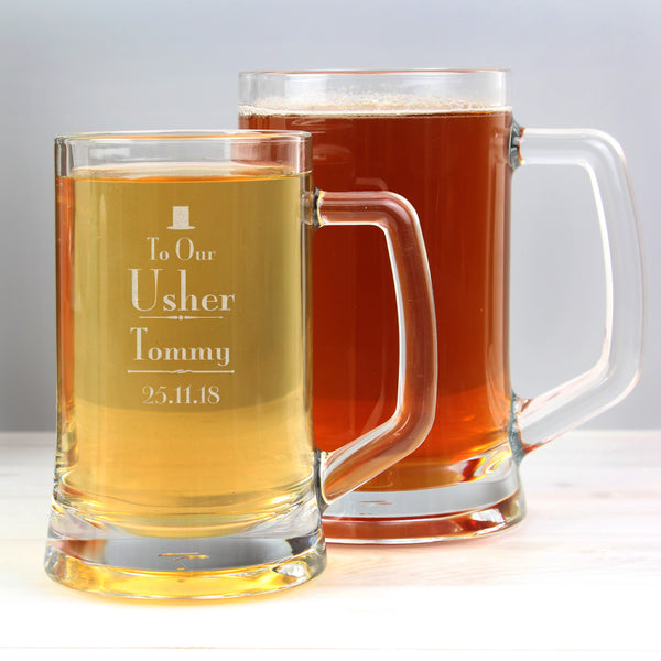 Personalised Decorative Wedding Usher Stern Half Pint Tankard with personalised name