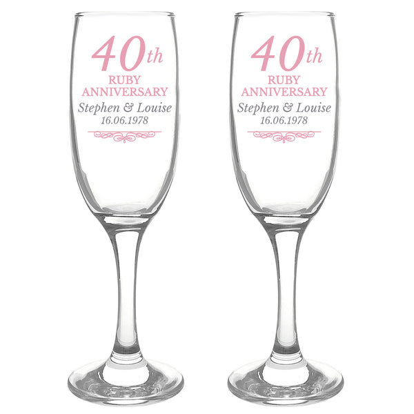 Personalised 40th Ruby Anniversary Pair of Flutes With Gift Box white background