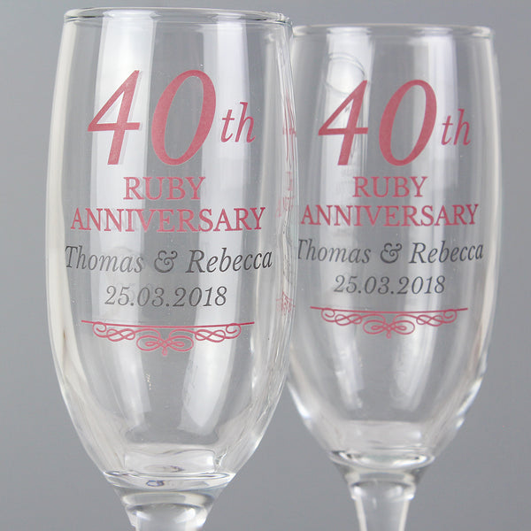 Personalised 40th Ruby Anniversary Pair of Flutes With Gift Box lifestyle image