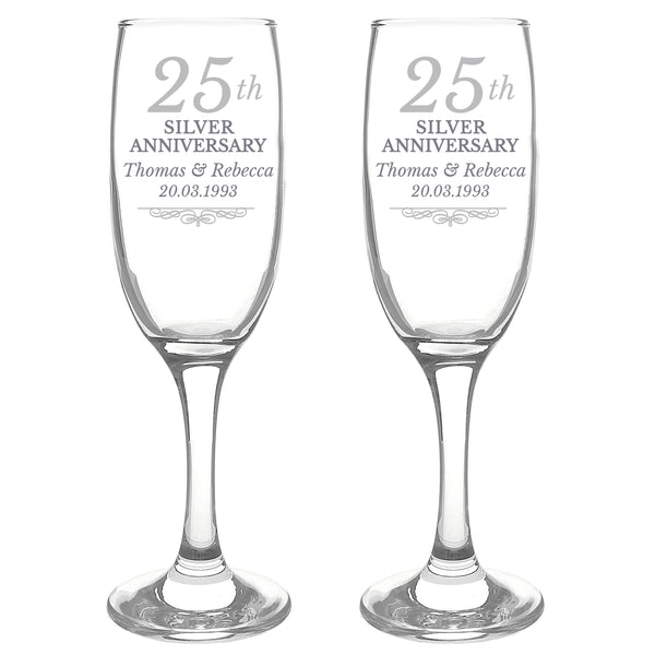 Personalised 25th Silver Anniversary Pair of Flutes With Gift Box white background
