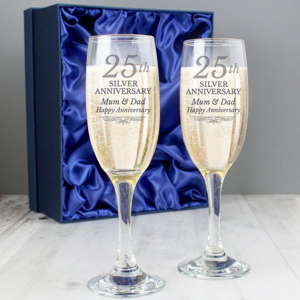 Personalised 25th Silver Anniversary Pair of Flutes With Gift Box from Sassy Bloom Gifts - alternative view
