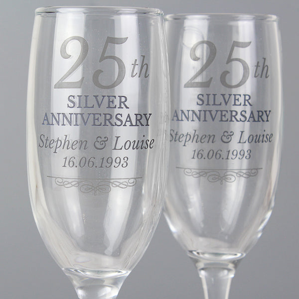 Personalised 25th Silver Anniversary Pair of Flutes With Gift Box lifestyle image
