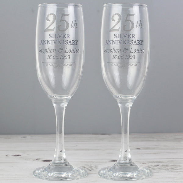 Personalised 25th Silver Anniversary Pair of Flutes With Gift Box with personalised name