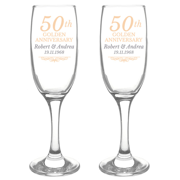 Personalised 50th Golden Anniversary Pair of Flutes With Gift Box white background