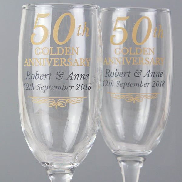 Personalised 50th Golden Anniversary Pair of Flutes With Gift Box lifestyle image