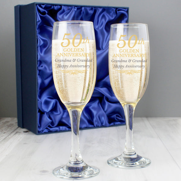 Personalised 50th Golden Anniversary Pair of Flutes With Gift Box with personalised name