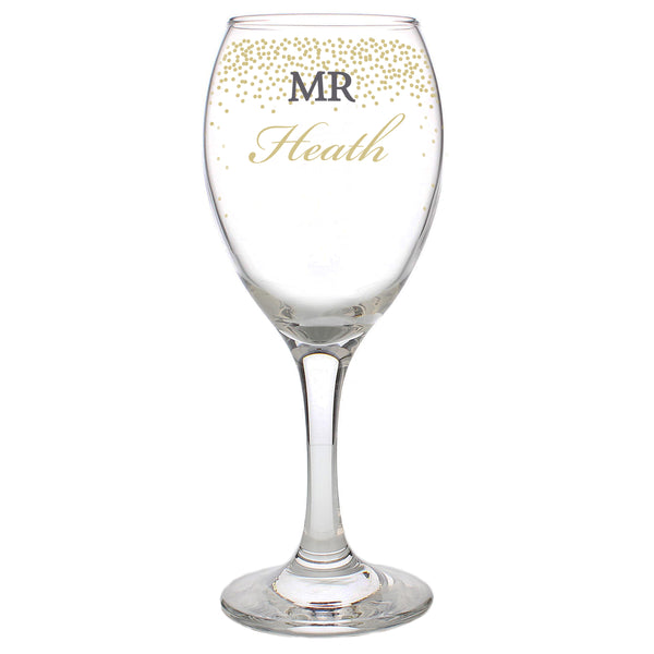 Personalised Gold Confetti Wine Glass white background