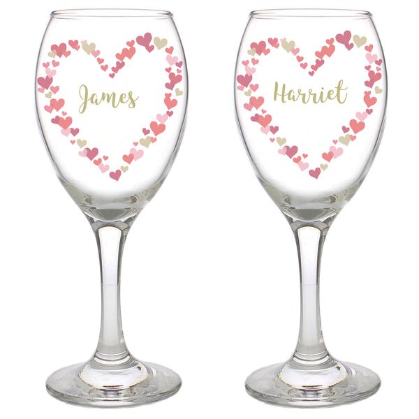 Personalised Confetti Hearts Wedding Pair of Wine Glasses white background