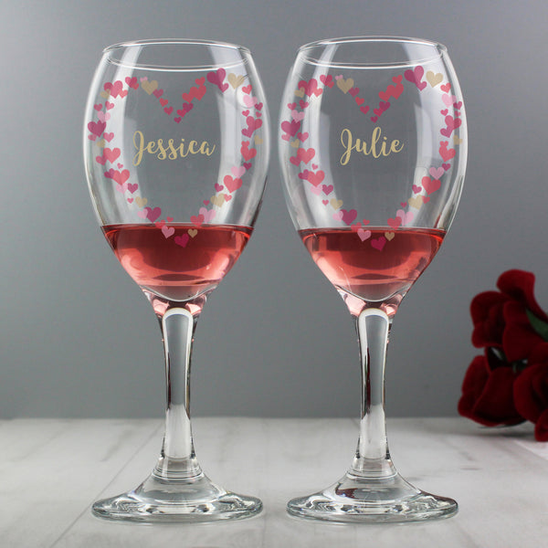 Personalised Confetti Hearts Wedding Pair of Wine Glasses lifestyle image