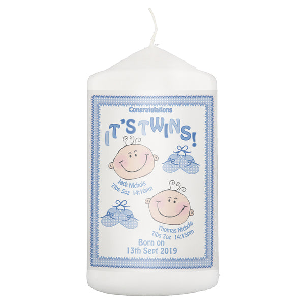 Personalised Its Twins Candle Blue white background